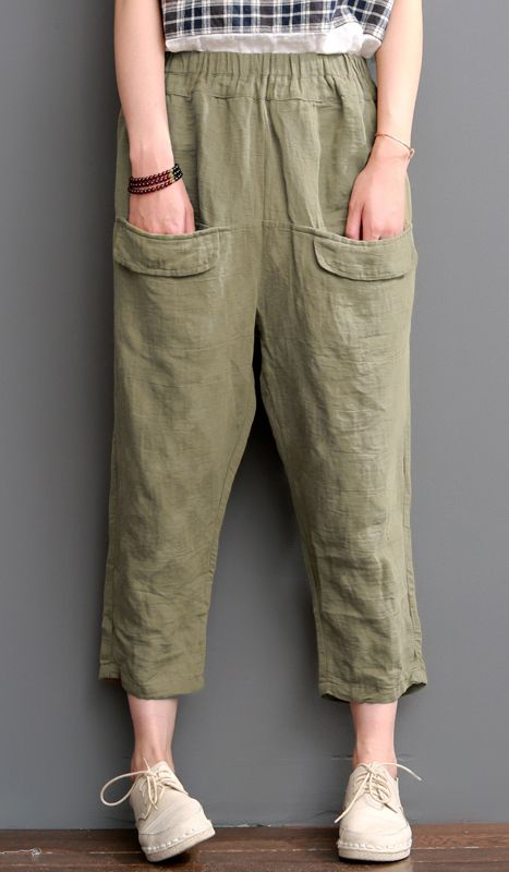 Tea green pants linen crop pants