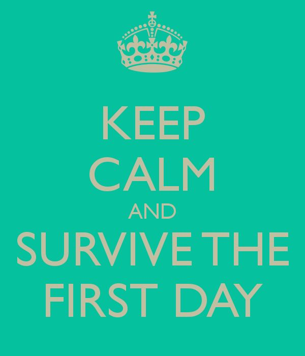 KEEP CALM AND SURVIVE THE FIRST DAY - KEEP CALM AND CARRY ON Image Generator - brought to you by the Ministry of Information