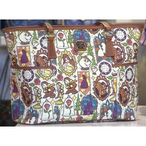 Show off your love for Beauty and the Beast with this Dooney & Bourke shopper tote.  Each piece is totally unique!  It has stitched leather trim, a top zip closure with braided leather pull, one inside zip pocket, 3 inside open pockets, an inside key hook and 2 exterior open pockets.  It is fully lined and has reinforced carry handles with metal rings.  It also has golden hardware and metal feet.