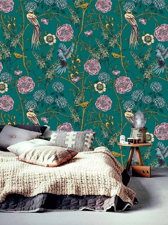 Vintage Floral Wallpaper Victorian Garden And Birds Peel Stick Wallpaper Removable Wallpaper Self Adhesive Vintage Floral Wallpapers Removable Wallpaper Floral Wallpaper