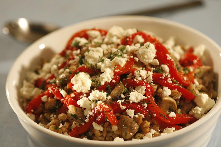 Farro salad with mushrooms, dill and feta | Recipe