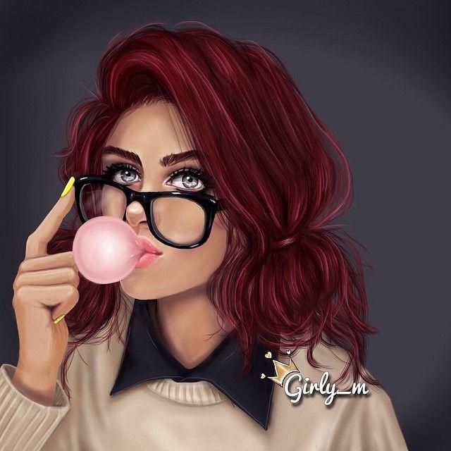 Girl, glasses and chewing gum / Ragazza, occhiali e gomma da masticare - Art by girly_m, on Websta (Webstagram)