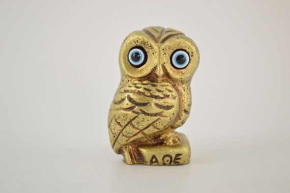 Owl statue / 2.7 inches / Polyester / Bronze by CraftsAndMetal