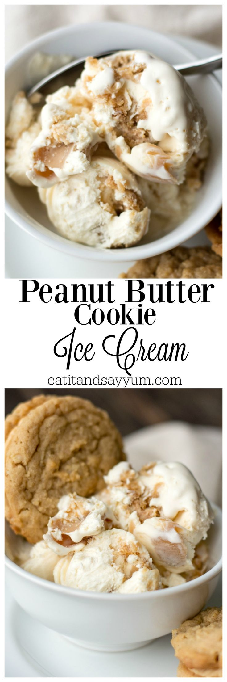 Peanut Butter Cookie Ice Cream- made with delicious cookies and peanut butter fudge sauce!