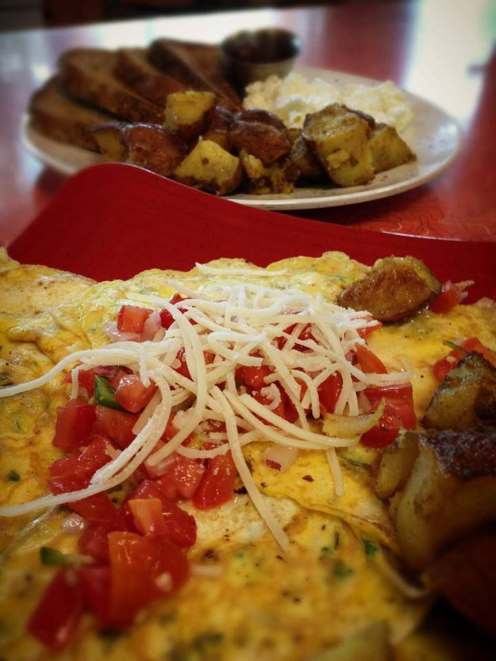 The Maggie's Omelet with Peppers, Onions, Portobello Mushroom, Asiago ...