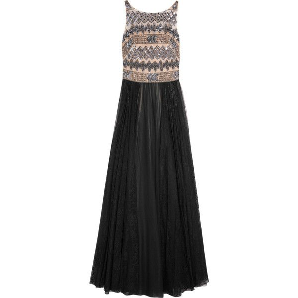 Mikael Aghal - Embellished Tulle Gown (€525) ❤ liked on Polyvore featuring dresses, gowns, black, multi color sequin dress, sequin ball gown, sequin evening gowns, tulle dress and tulle ball gown