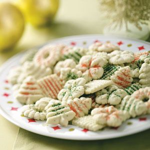 Lime Spritz Cookies Recipe from Taste of Home -- They're easy, festive and delightfully different.