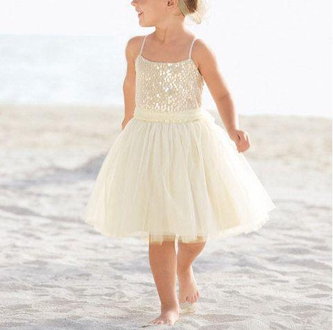 Gorgeous Flower Girl Dress,Little Princess Dress with Spaghetti shoulder strap,Lovely Flower girl Dress, Knee Length Girl Dress(FL1305)