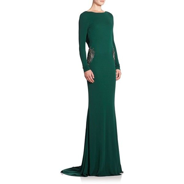 Badgley Mischka Beaded Draped-Back Gown (£570) ❤ liked on Polyvore featuring dresses, gowns, apparel & accessories, emerald, green evening dress, beaded evening dresses, green evening gown, evening dresses and open back evening dress