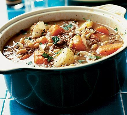 Cold Weather Hotpot -- Wish I had the ingredients to make this today.  Maybe tomorrow.  Sounds like a good crock pot recipe.  9 g fat / 400 cal per serving.  Nutrition grade:  A