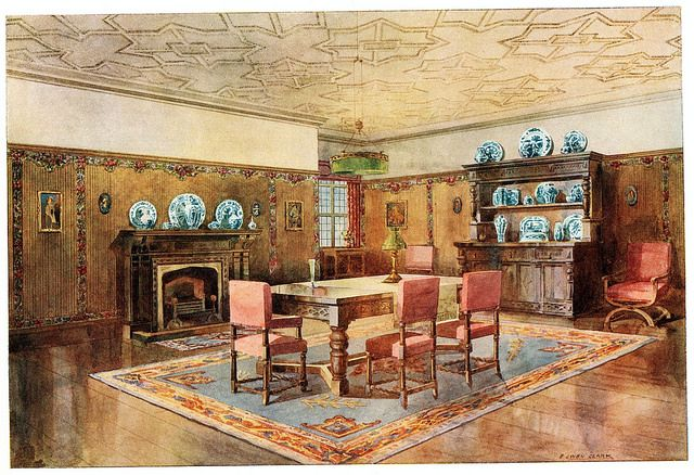 The Decorative Use of Wallpapers - The walls are decorated with plain striped ingrain, panelled with cut-out borders, which can be arranged at will. The frieze is plain, and t...