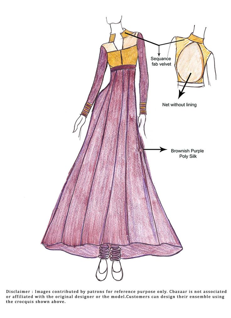 DIY Purple Poly Silk Anarkali Suit