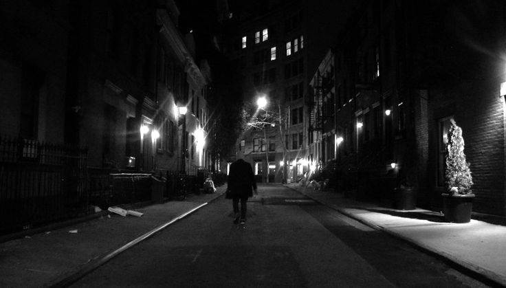"""Gay Street in Greenwich Village in Manhattan. Film noir is a favorite film genre of mine, and this street definitely gives a """"noir-ish"""" vibe in the evening."""