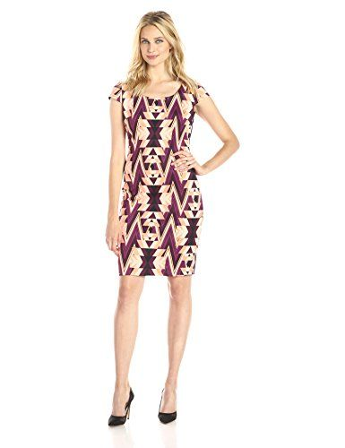 Sangria Women's Cap-Sleeve Scuba Sheath Dress