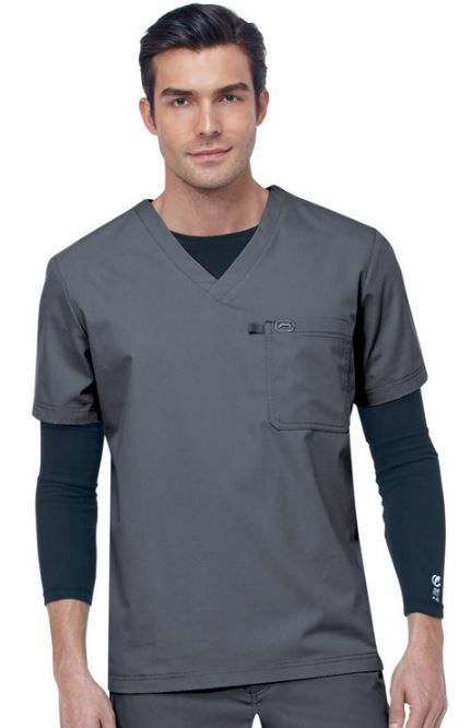 From allheart's huge selection of men's scrubs: this  clean, simple v-neck #scrubtop Color featured here: Pewter.