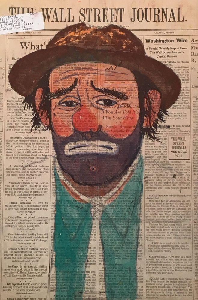 VINTAGE W Harold Hancock CLOWN Wall Street Journal EMMETT KELLY Indiana PAINTING #Realism