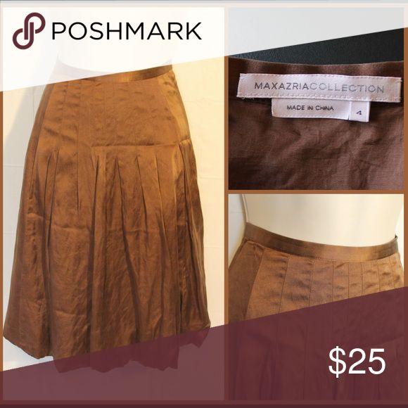 MAX AZRIA Brown Satin Skirt Brown satin skirt from Max AZRIA Max Azria  Skirts Midi