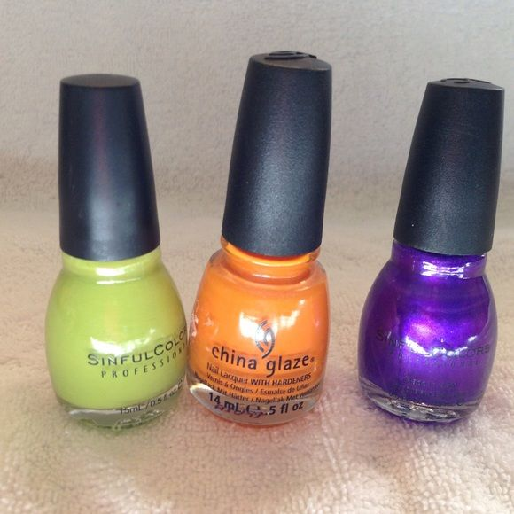 China glaze/sinful nail polish Fun colors! Perfect for Halloween! Other
