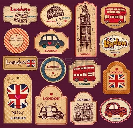 Vintage tags and labels with London symbols