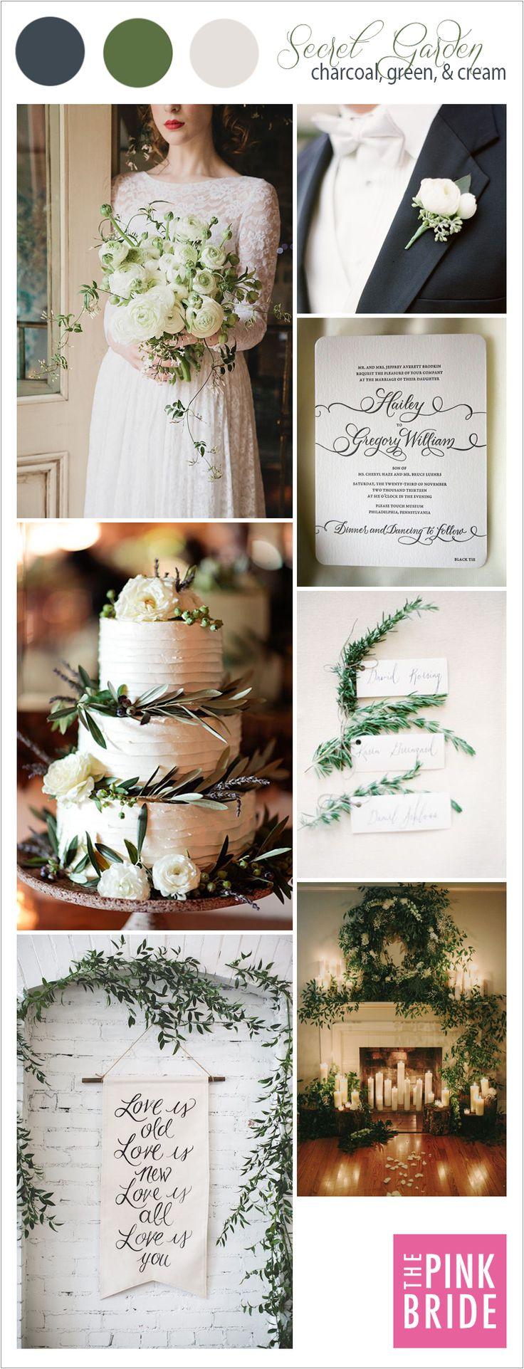Wedding Color Board Secret Garden Green & Cream Secret