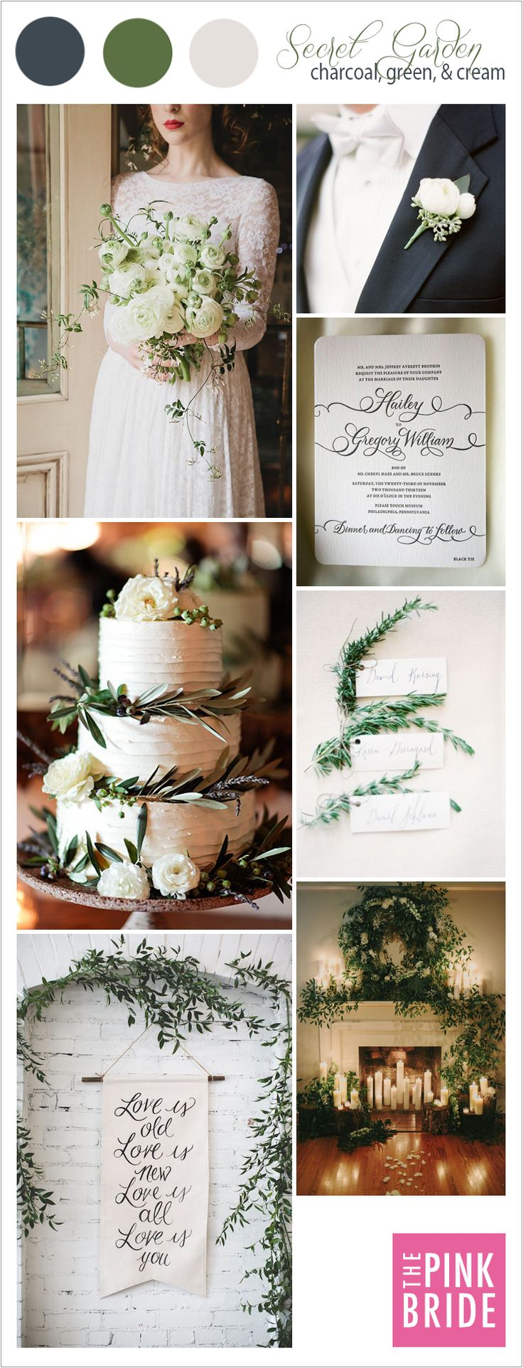 Secret Garden wedding color palette inspiration board with green, cream, and charcoal wedding details | The Pink Bride® www.thepinkbride.com