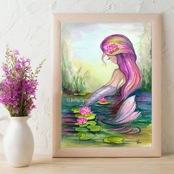 Mermaid and lotus frame