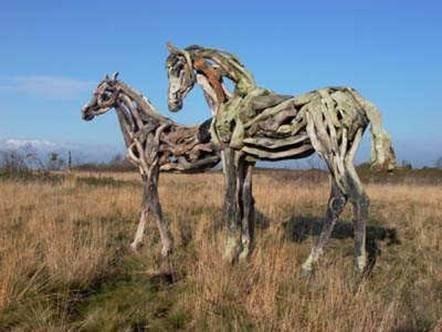 Driftwood horses.how amazing