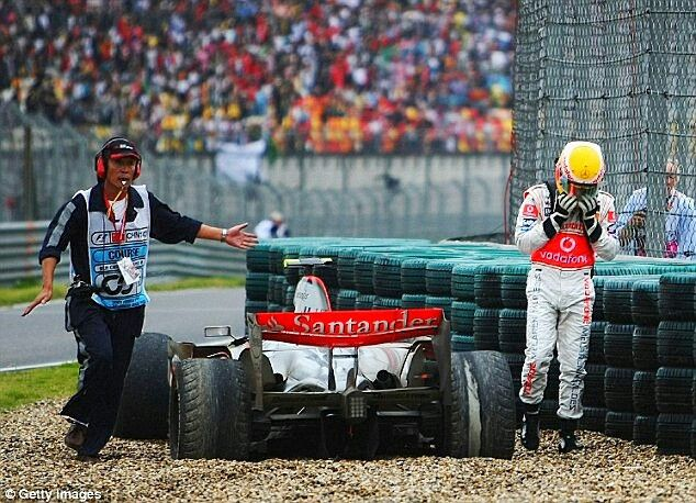 "Oct 7,  2007 ~ Lewis Hamilton's hopes of a World Drivers' Championship hit the rocks when he spun his McLaren MP4-22 off a damp track at the Chinese Grand Prix in Shanghai,  allowing Ferrari's Kimi Raikkonen to win the race and ultimately the title at the finale in Brazil.  ""You cannot go through life without making mistakes,""  Hamilton commented after the race. #F1 #Formula1 #ChineseGP #LewisHamilton #McLarenF1  #KimiRaikkonen #ScuderiaFerrari #F2007 #OnThisDay"