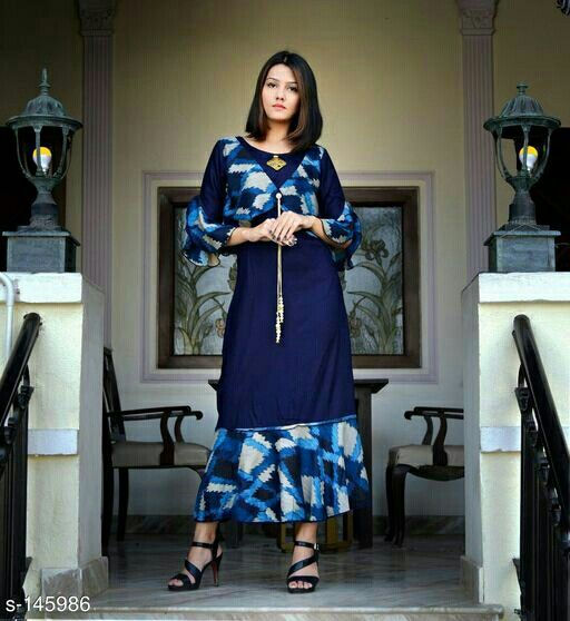 _Add class to your fashion sense by donning this trendy Kurtis. You will fall in love with its unique design and look. Team it up with minimal jewelry and flaunt in style._    Catalog Name: *10DENZA Kurtis*