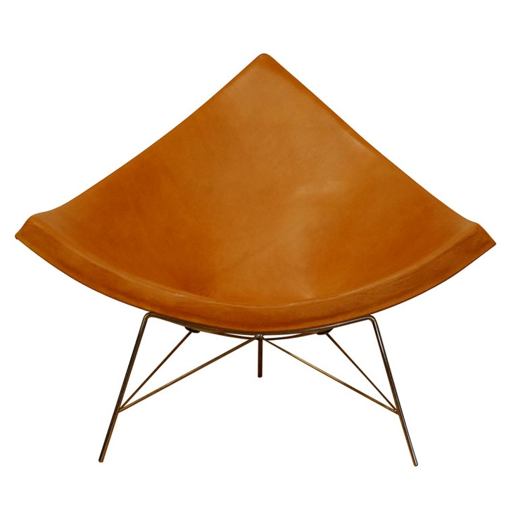 George Nelson coconut chair in gold leather
