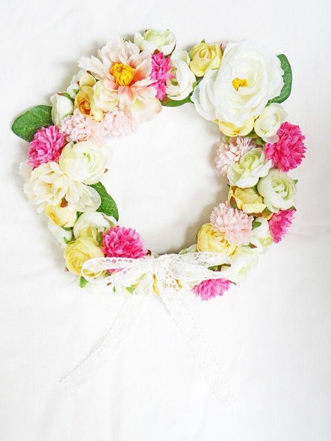 こんなにかわいい花冠が作れる!解説付き!アウトドアイベントに使いたい♡造花で作る花かんむりの作り方です!