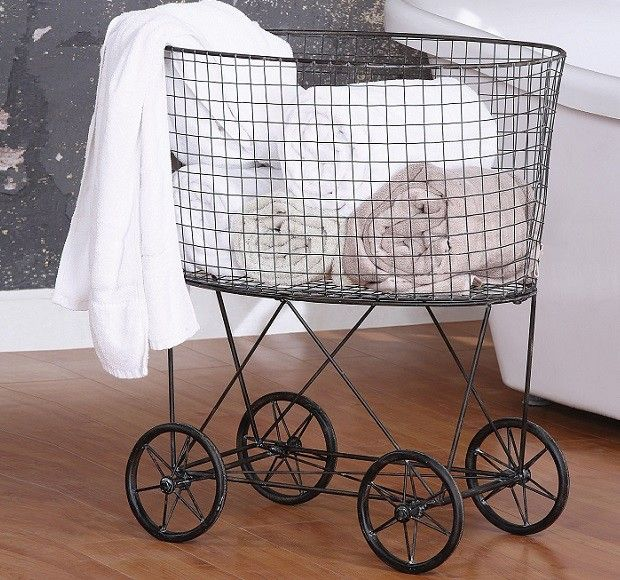 Vintage Inspired Rolling Laundry Basket