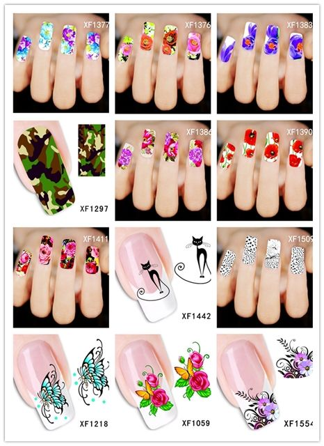 Hot Sale 1 Sheet Fashion Nail stickers 2016 Top Sell Flower Bows  Water Transfer Decoration Sticker Nail Art  Sticker