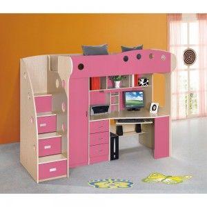Dormitor copii multifuncțional (roz)