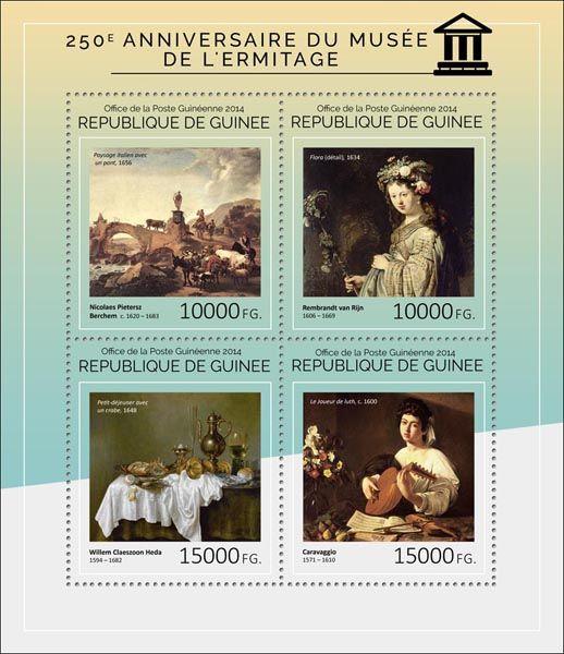 "Post stamp Guinea GU 14402 a250th anniversary of the Hermitage museum (Nicolaes Pietersz Berchem, ""Italian landscape with  bridge"", 1656, {…}, Caravaggio, ""The Lute Player"", c. 1600)"