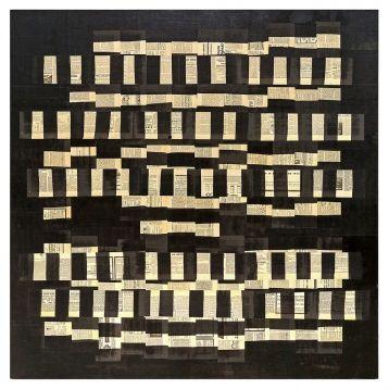 """FAUSTINO AIZKORBE """"IMPRONTA""""  Técnica de Collage con periódicos antiguos, 50 años aprox. Soporte de madera prensada. Obra única. Fdo. Aizkorbe. Año 2000. Medidas: 150 x 150 cm."""