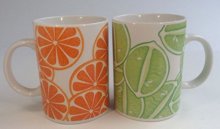 STARBUCKS Company Coffee Mugs Orange Slices & Lime Design 2004 Collection 16oz. #Starbucks