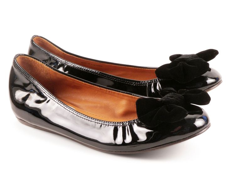 Lanvin black Calf leather flats ballerina with velvet bow - Italian Boutique €257