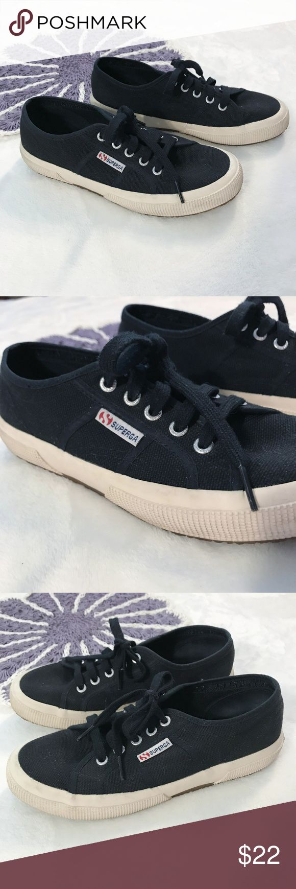 Superga Black Canvas Sneakers Superga black canvas sneakers.  Bottoms could use a deep clean but otherwise they are in great condition! Size 7 US true to size. Superga Shoes Sneakers