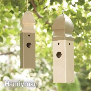 Bird House: How to Build a Wren House - Build an attractive birdhouse that will last for a lifetime, yet only takes a few minutes to build. All you need to create a welcoming home for wrens and other small birds is a short piece of plastic fence post. Read more: http://www.familyhandyman.com/woodworking/projects/bird-house-how-to-build-a-wren-house/view-all