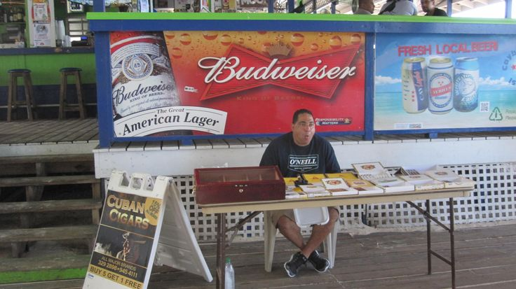 At Calico Jack's on 7-mile beach of Grand Cayman: http://cigarczars.com/cigar-cruises.htm