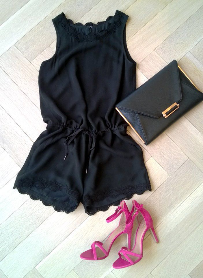 love the black romper with hot pink heels.
