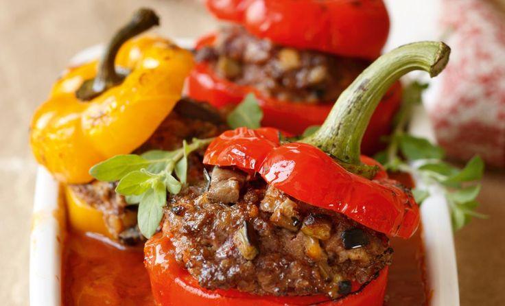 Gefüllte Paprika mit Rinderfaschiertem und Melanzani #Rezept #recipe