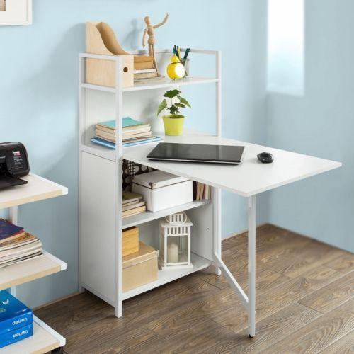 SoBuy-Wandklapptisch-Buecherschrank-mit-klappbarem-Schreibtisch-FWT12-W