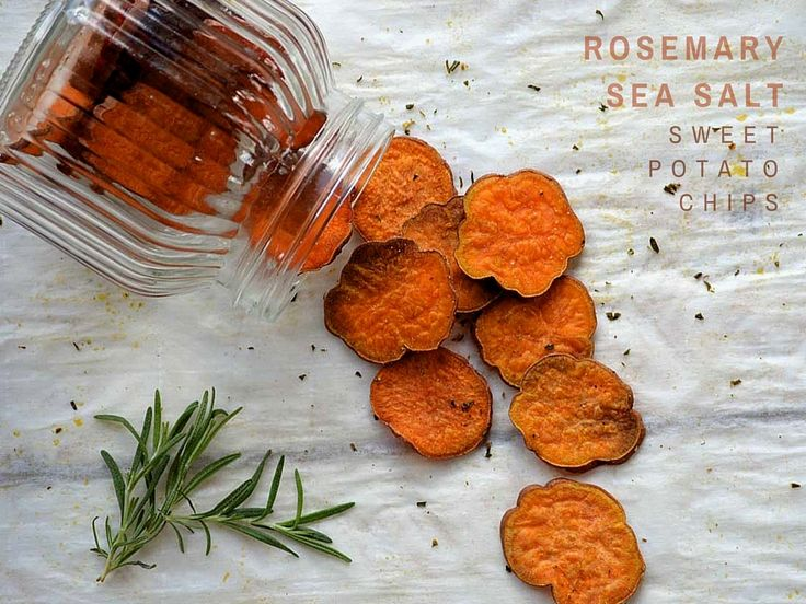 Rosemary and Sea Salt Sweet Potato Chips are baked to perfection for a satisfying crunch. A healthy and whole food treat you can feel good about sharing.