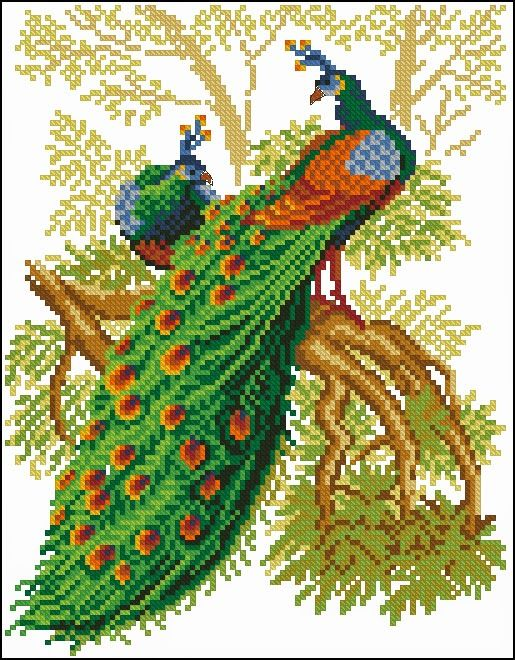 Cross-stitch Beautiful Peacocks...   Les aiguilles de Svetlana: Grilles à broder gratuites