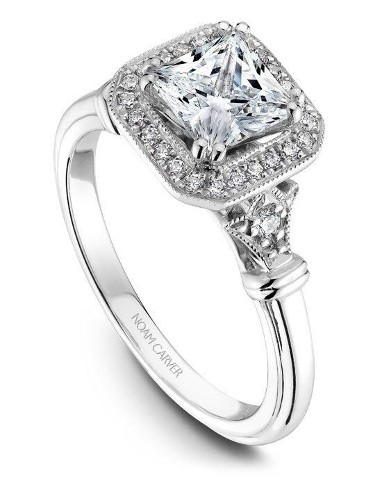 18k white gold vintage princess cut halo engagement ring with floral design, 26 round diamonds and a TCW of 0.16.Price excludes center stone