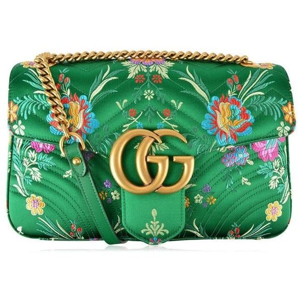 Gucci Floral Jacquard Marmont Bag (€1.300) ❤ liked on Polyvore featuring bags, handbags, shoulder bags, gucci, verde, flower print handbags, oversized handbags, chevron print purses and chain strap purse