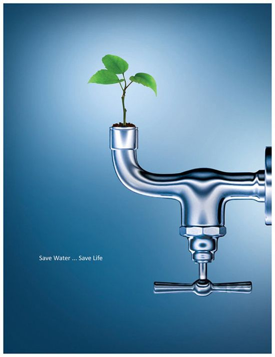 advertisement for Save Water Campaign created in Photoshop