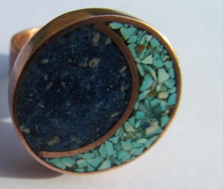 """anillo cobre, lapislázuli y turqueza // """" aros de cobre diseño exclusivo """""""